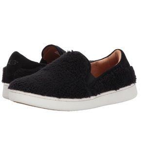UGG Ricci Fuzzy Black Faux Sheepskin Slip Ons